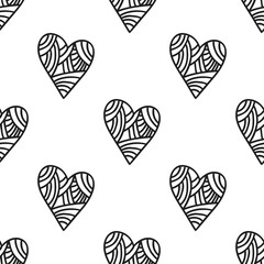 Decorative hearts. Black and white illustration and seamless pattern. Vector