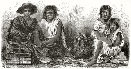 Ancient mexican poor family seated on the ground and looking at the camera with a sad facial expression. Created by Riou after photo by unknown author published on Le Tour du Monde Paris 1862
