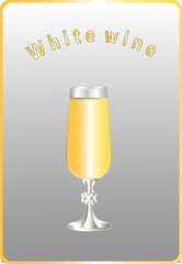 A glass of white wine on a neutral background. Vector illustration.