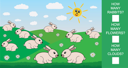 Educational mathematical game for children. Count how many rabbits, flowers, clouds. Vector illustration.