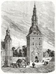 The ancient entrance of Friederiksborg castle tower Denmark. Created by Therond published on Le Tour du Monde Paris 1862