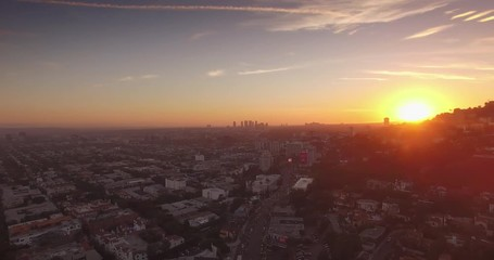 Fotobehang - Scenic aerial view Sunset Boulevard Hollywood Hills Los Angeles cityscape 4K UHD