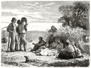 Ancient farmers getting rest after the harvest on a field at sunset. Old illustration depicting Danish harvesters resting. Created by Frolich published on Le Tour du Monde Paris 1862