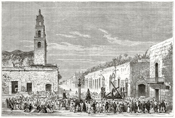Ancient religious people celebrating Holy Friday in a South American town. Merida street Yucatan Mexico. Created by Guaiaud and Gusmand published on Le Tour du Monde Paris 1862