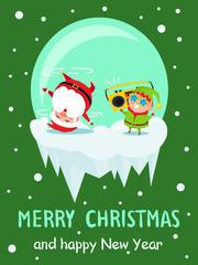 Merry Christmas New Year Poster Santa Dancing Elf