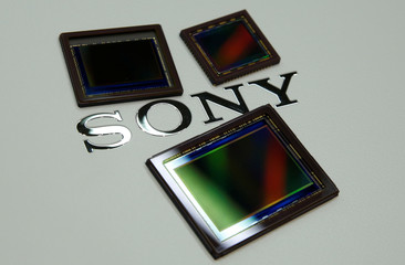 Sony's image sensors are pictured at the company's headquarters in Tokyo