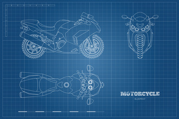 Outline drawing of motorcycle. Side, top and front view. Detailed  blueprint of motorbike on blue background