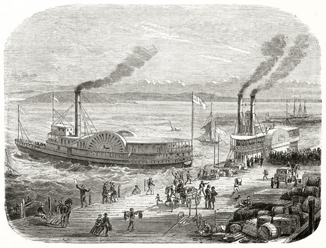Ancient San Francisco docks, California, with a steamboat that sets sail. Mercantile goods grouped on the pier are waiting to be uploaded. By Chassevent published on Le Tour du Monde Paris 1862