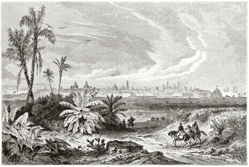 Large view on the ancient arrival to Veracruz with the luxuriant mediterranean vegetation and the city in background from the road to Orizaba, Mexico. By De Berard published on Le Tour du Monde 1862