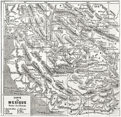 Antique  sepia tone Western Mexico map. By unidentified author published on Le Tour du Monde Paris 1862