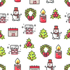 Set of Christmas Theme Symbols Seamless Pattern