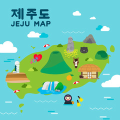 Poster Turquoise Jeju island Travel map vector illustration, Attractions in flat design. Korean character is