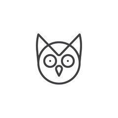 Owl head line icon, outline vector sign, linear style pictogram isolated on white. wisdom symbol, logo illustration. Editable stroke