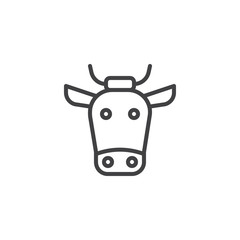 Buffalo head line icon, outline vector sign, linear style pictogram isolated on white. cow symbol, logo illustration. Editable stroke
