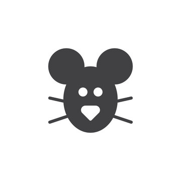 Mouse head animal icon vector, filled flat sign, solid pictogram isolated on white. Symbol, logo illustration.