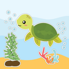 cute sea turtle sticker vector