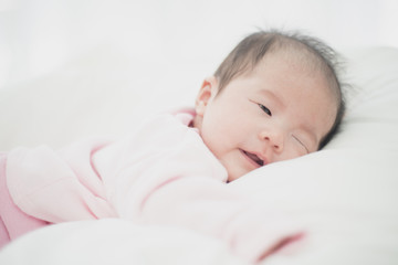 Asian beautiful newborn baby.