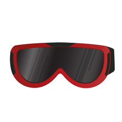 Realistic ski goggles. Eye protection. Sport equipment.