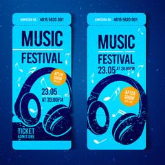 Vektor Illustration Musik Festival Ticket Vorlage mit Grunge Effekten und Kopfhörer