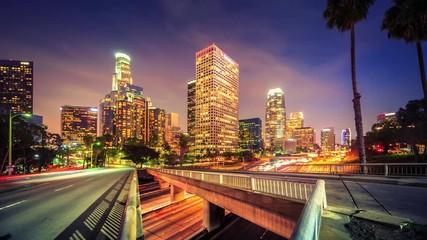 Klistermärke - Cinemagraph - Downtown Los Angeles city traffic at night. 4K UHD Motion Photo.