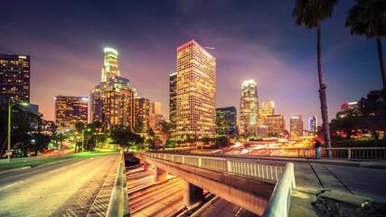 Fotobehang - Downtown Los Angeles city traffic at night. 4K UHD Timelapse.