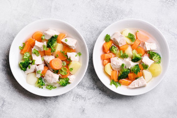 Vegetable chicken soup, top view