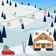 Ski resort snow mountain landscape, skiers on slopes, ski lifts, a house, a car with the ski equipment pulls up to the resort. Vector illustration in flat style.