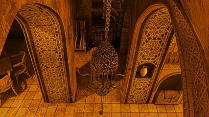 Interior architettura araba, locale orientale, illustrazione 3d, bazar, dubai