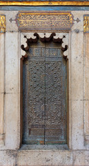 Bronze-plate ornate door of minbar (platform) of the Sultan Hasan public mosque, Cairo, Egypt
