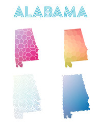 Alabama polygonal us state map. Mosaic style maps collection. Bright abstract tessellation, geometric, low poly, modern design. Alabama polygonal maps for infographics or presentation.
