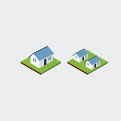 Home Isometric Vector Template Design