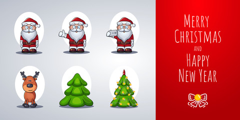 Santa Claus, Reindeer, Christmas Tree. Set of vector cartoon characters. Template for greeting card or holiday animation.