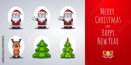 santa claus reindeer christmas tree set of vector cartoon