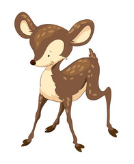 Cute brown standing cartoon deer, deer, cute, animal, cartoon, illustration, baby