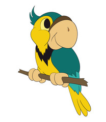 Cute colorful cartoon parrot sitting on a branch, parrot, cute, animal, cartoon, illustration, baby