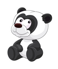 Cute sitting cartoon panda, panda, cute, animal, cartoon, illustration, baby