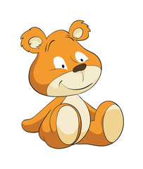 Cute sitting cartoon teddy bear, bear, cute, animal, cartoon, illustration, baby