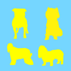 Silhouette of yellow dog, collection, on blue background,
