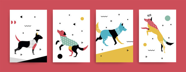 A set of cards withdogs in the Memphis style.