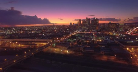 Fototapete - Aerial view of downtown of city of Los Angeles, scenic sunset. 4K UHD.