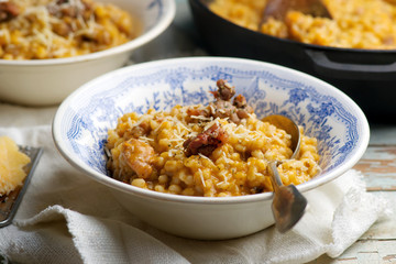 CREAMY PUMPKIN BARLEY WITH SAUSAGE