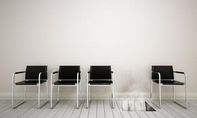 Wartezimmer mit Stuhlreihe, wovon einer im Boden versunken ist
