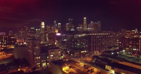 Klistermärke - Aerial view of downtown of city of Los Angeles at night.