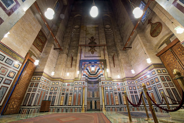 Interior of al Rifaii Mosque (Royal Mosque), an ancient  public mosque located in front the Cairo Citadel, Cairo, Egypt