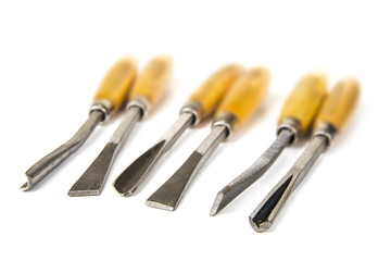 Set of wood chisel on the white background