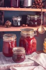 Some jars of homemade jam closeup shot