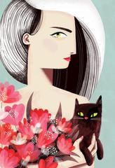 A woman with cat and flowers