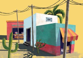 Illustration of Mexican village, Mexico