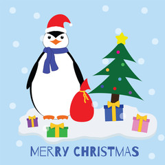 Merry Christmas. Penguin near Christmas tree and gifts on the ice