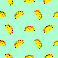 Taco mexican food seamless blue vector pattern. Bright yellow fast food texture background.
